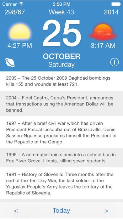 Screenshot Calendarium – Everything about this day