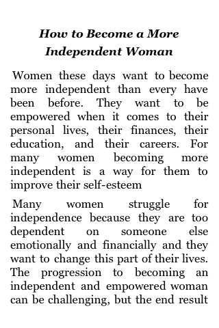 How to Become a More Independent Woman screenshot #2