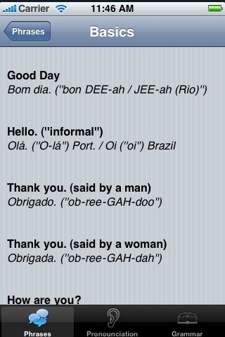 iTrek! - Portuguese Phrasebook screenshot #3