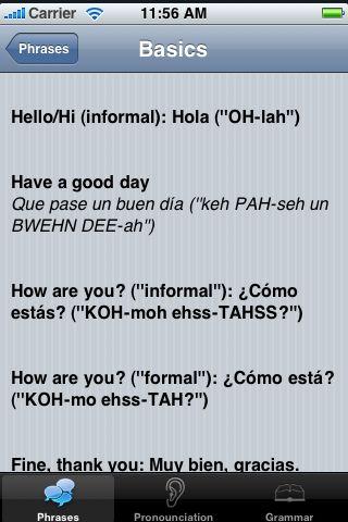 iTrek! - Spanish Phrasebook screenshot #3