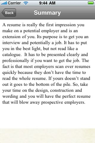 iGuides - The Perfect Resume screenshot #3