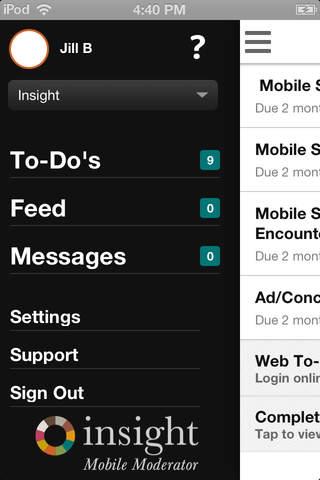 Insight Mobile Moderator - náhled