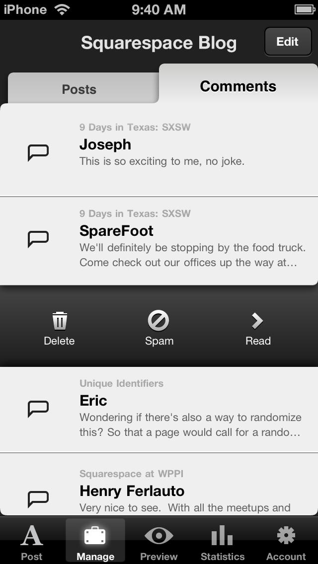 Squarespace Manager for iPhone screenshot 3