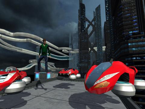 Hover Car Parking Simulator - Flying Hoverboard Car City Racing Game FREE screenshot 7