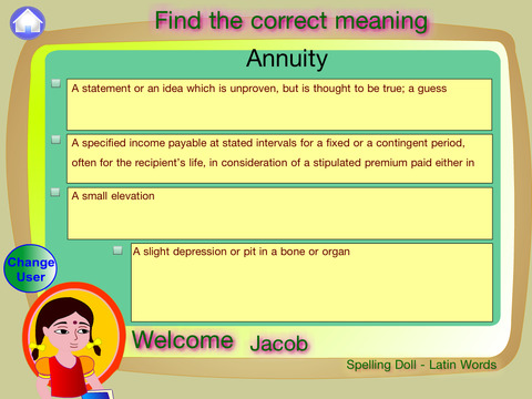Spelling Doll English Words From Latin Vocabulary Quiz Grammar screenshot 9