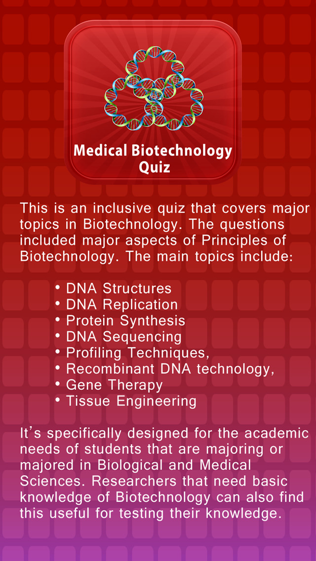 Medical Biotechnology Quiz | Apps | 148Apps