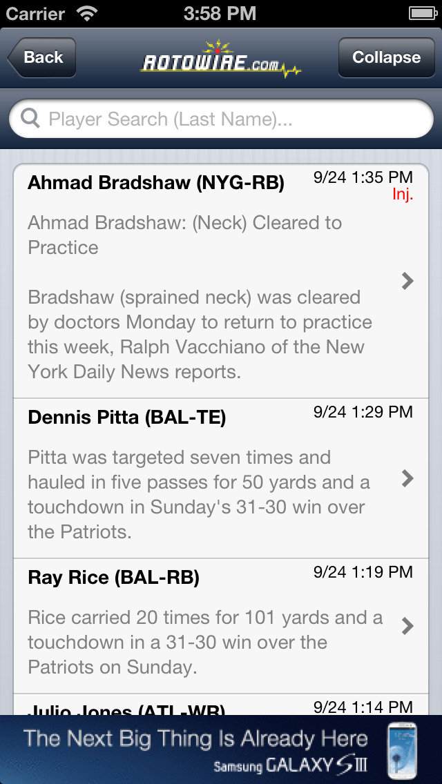 RotoWire Fantasy News Center screenshot 2
