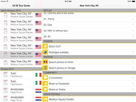 U2 IE Tour Guide iPad - náhled