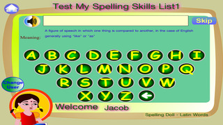 Spelling Doll English Words From Spanish Origin Vocabulary Quiz  Grammar screenshot 3