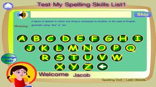 Spelling Doll English Words from German Vocabulary Quiz Grammar screenshot 2