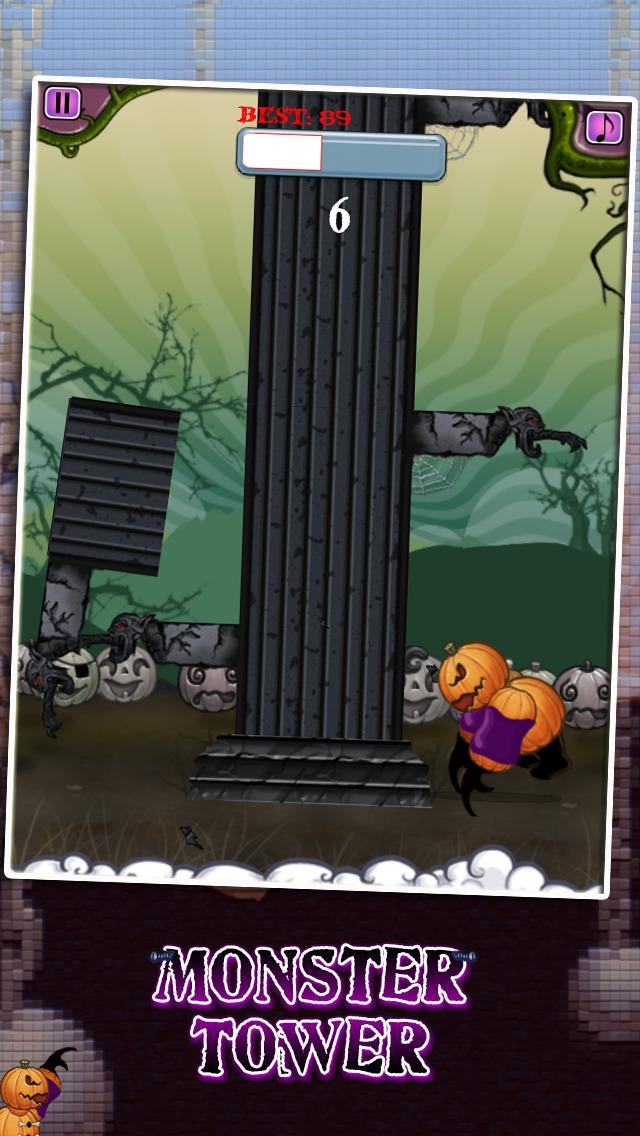 Monster Tower - Halloween Tree Chopping Pumpkin Man screenshot 1