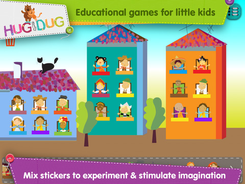 HugDug Houses - Little kids build their own house and make art with amazing stickers screenshot 3