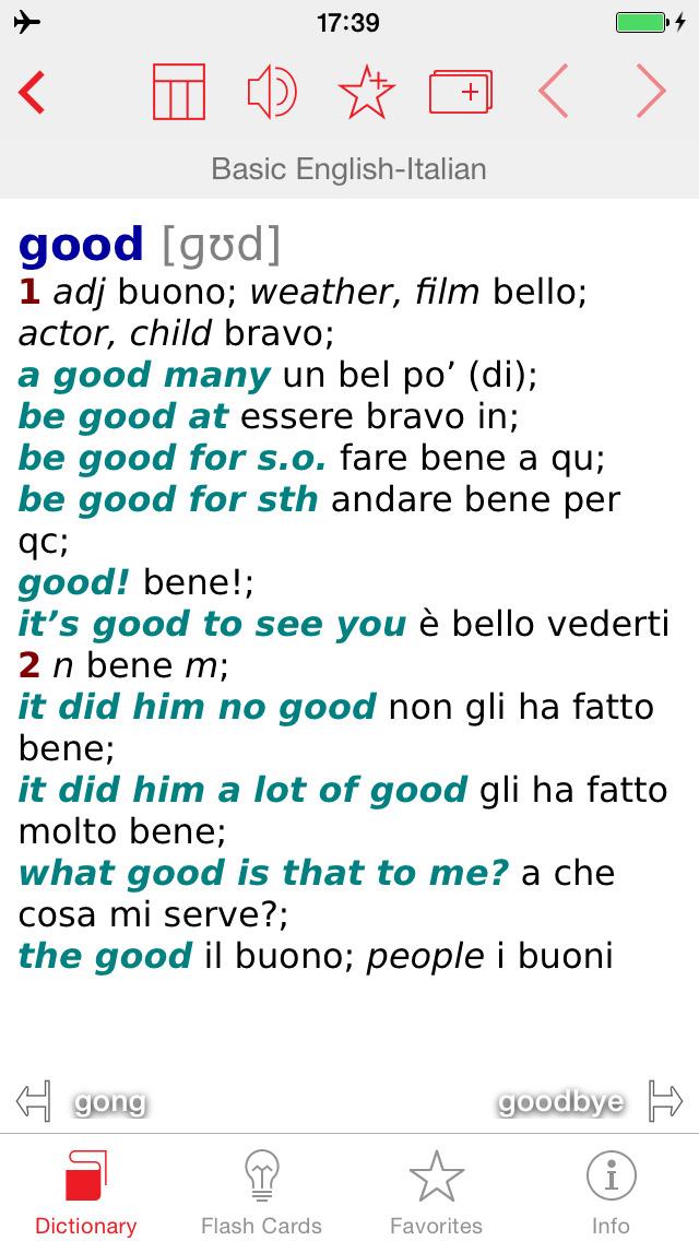 Italian - English Berlitz Basic Talking Dictionary screenshot 1