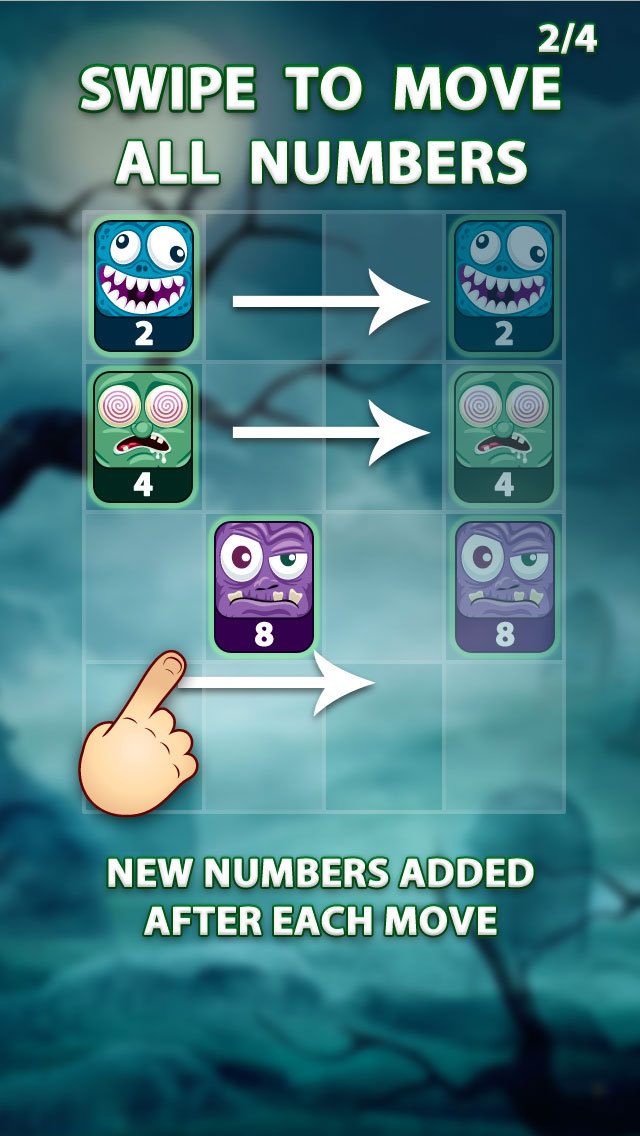 2048 Angry Monsters Puzzle screenshot 2