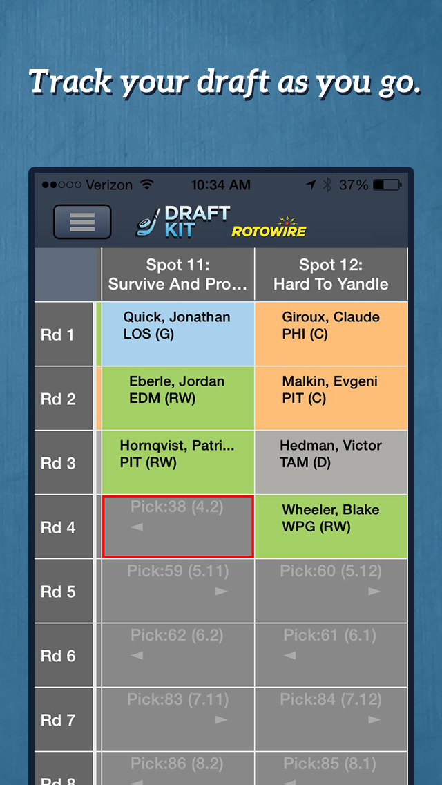 RotoWire Fantasy Hockey Draft Kit 2014 screenshot 4