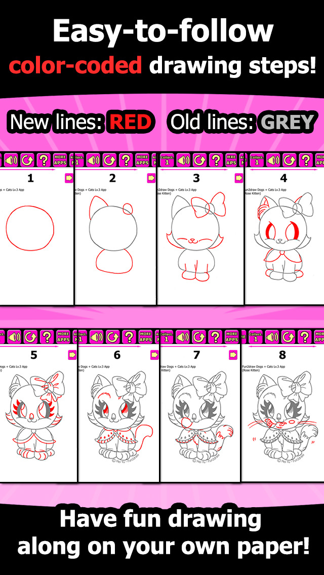 Draw And Color Cats Dogs How To Draw Cute Dogs Cats Cartoon Kitty Puppy Fun Pets Fun2draw Dogs And Cats Lv3 Apps 148apps