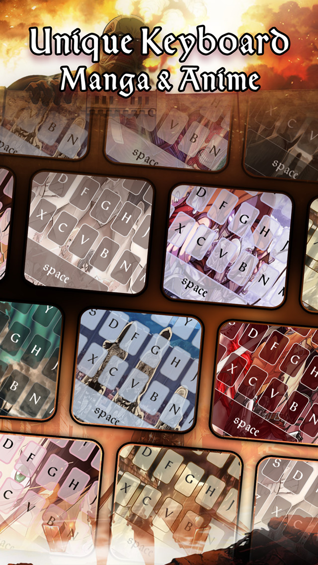 Keyccm Manga Anime Custom Color Wallpaper Keyboard Themes In Attack On Titan Style Apps 148apps