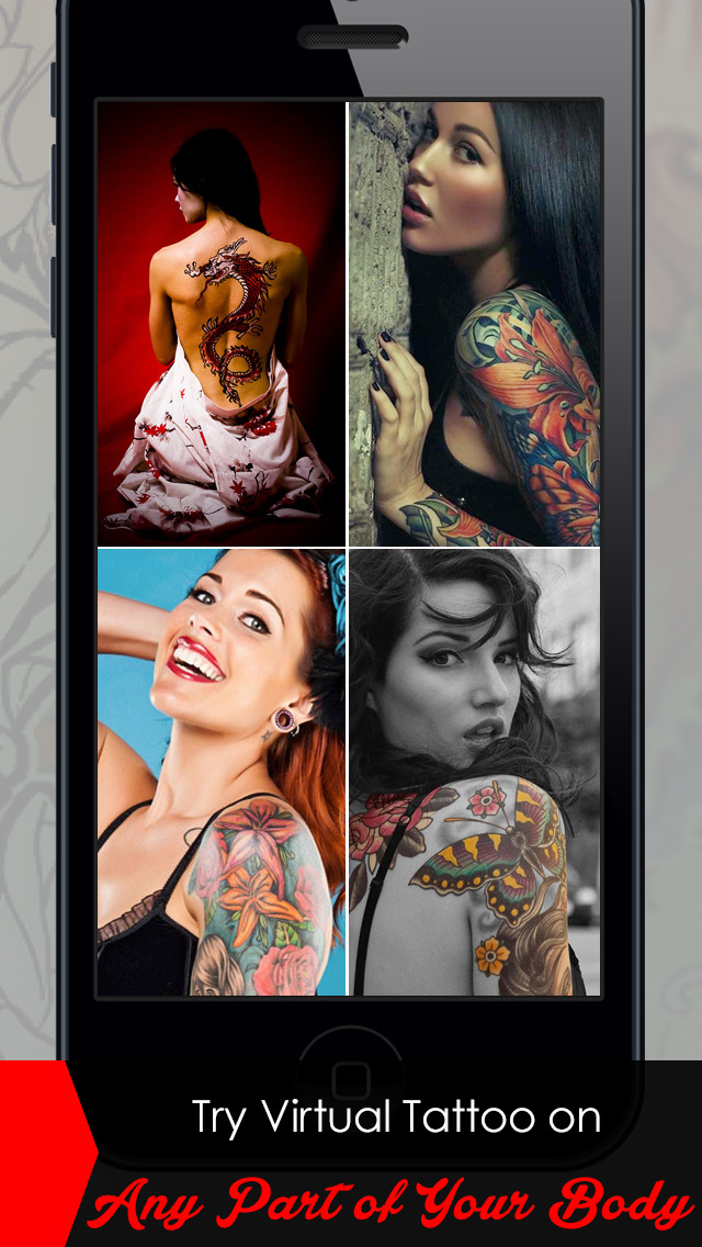 MyTattoo - The Tattoo Designs Salon App & Virtual Photo Booth Machine to Tattooed yourself with Dragon Tribal Tattoos without Pain for free! screenshot 2