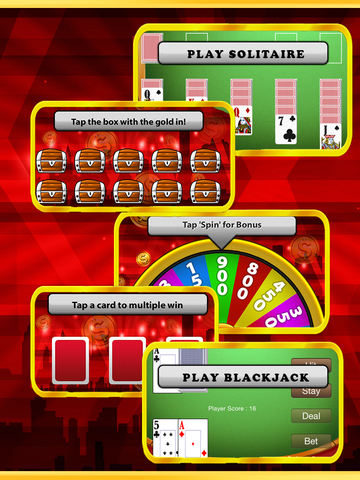 `King Caesars Jackpot Gold 777 Casino Slots - Slot Machine with Blackjack, Solitaire, Bonus Prize Wheel screenshot 7