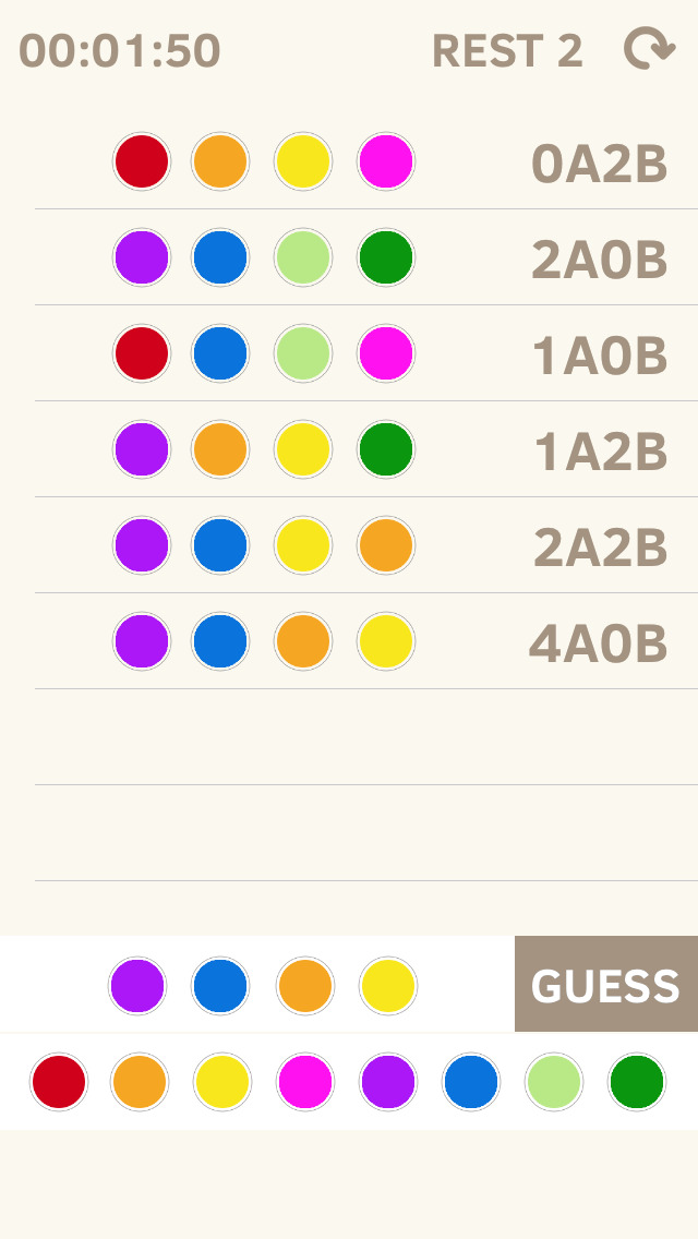 Color Code Mastermind screenshot 1