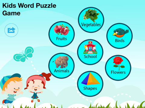 Kids Word Puzzles - Spell to learn Animals, Birds, Fruits, Flowers, Shapes, Vegetables for preschool and kindergarten screenshot 1