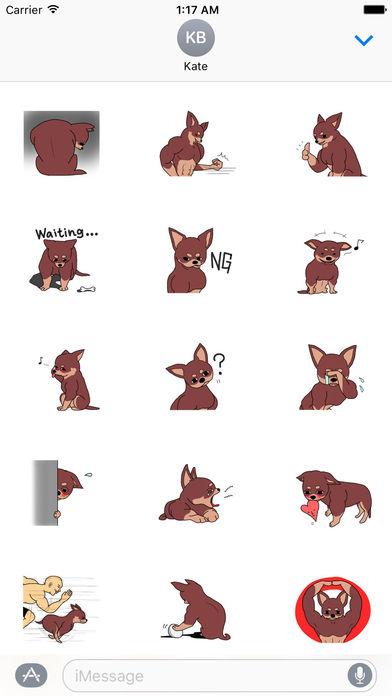Muscle Chihuahua Dog Sticker screenshot 1