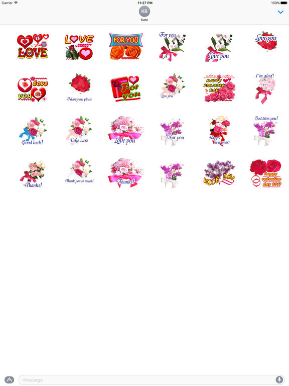 Love Bouquets For Valentine's Day Stickers screenshot 3
