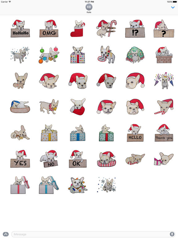 Christmas Of Cute French Bulldog Stickers screenshot 4