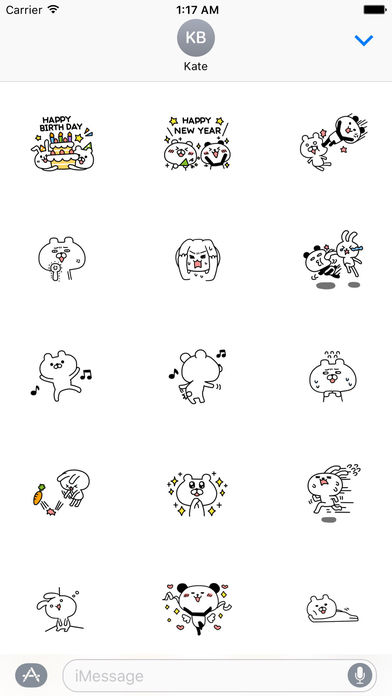Funny Rabbit And Bear Stickers Pack screenshot 1