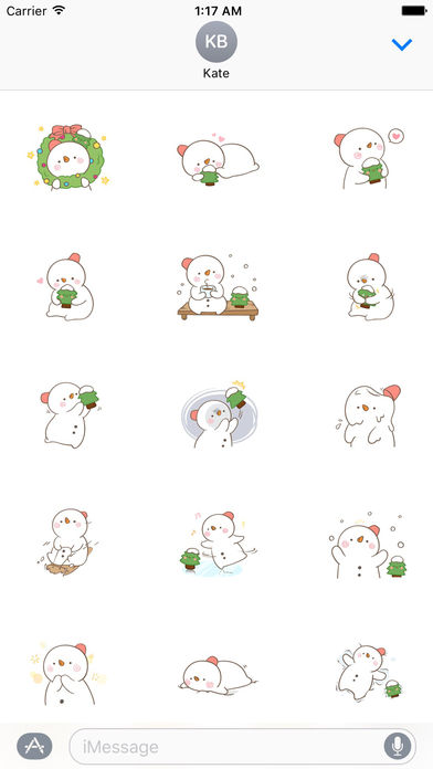 Big Snowman And Cute Christmas Tree Stickers screenshot 1