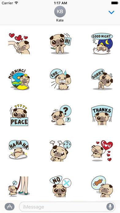 Lovely Pug Stickers screenshot 1