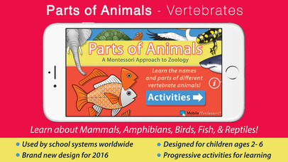 Parts Of Animals Vertebrates - Montessori Zoology screenshot 1