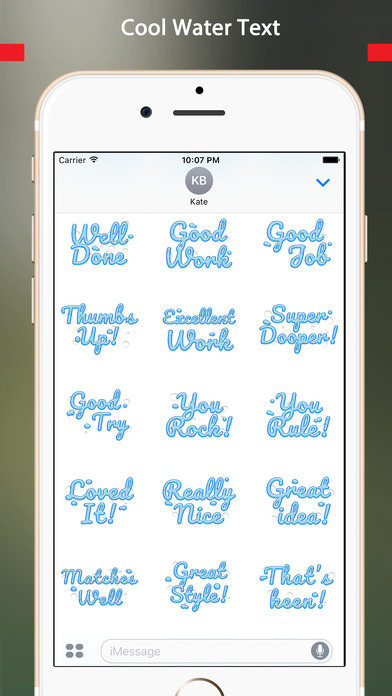 Compliment - Cool Water Text Stickers screenshot 2