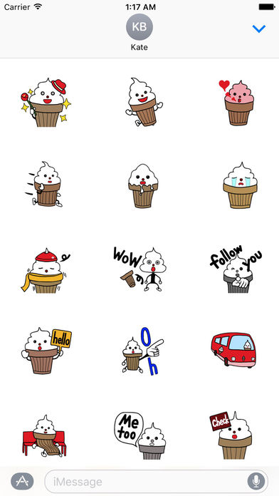 Cute Ice Cream Kid Sticker screenshot 1