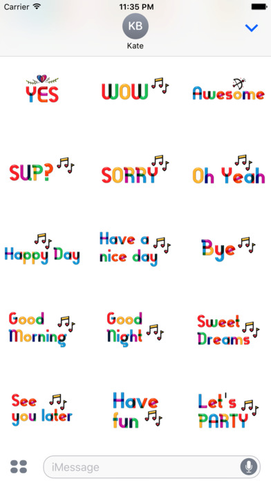 Lovely Colorful Glass Sensitive Word Stickers screenshot 5