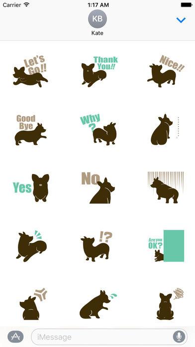 Welsh Corgi Dog Silhouette Sticker Pack screenshot 2