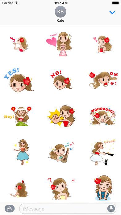 Animated Beautiful Hula Girl Sticker screenshot 1