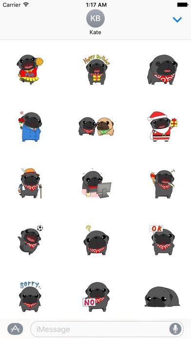 Cute Black Pug Dog Sticker screenshot 1