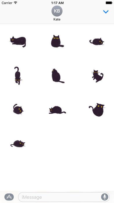 Soft Black Cat Catmoji Sticker screenshot 3