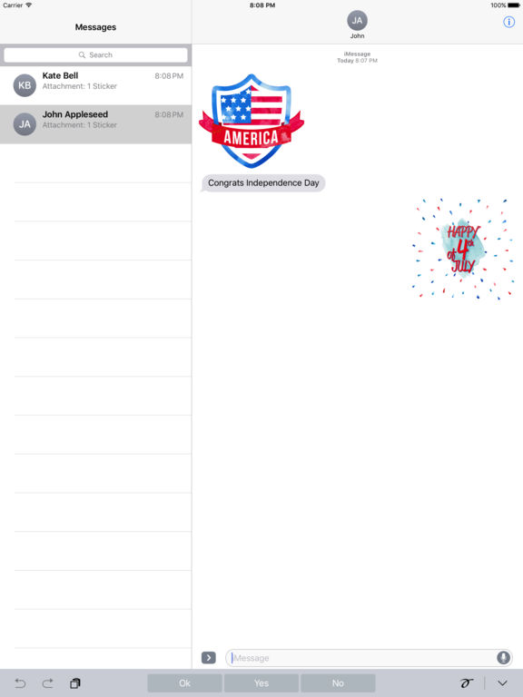 4th of July - Watercolor Independence Day Stickers screenshot 5