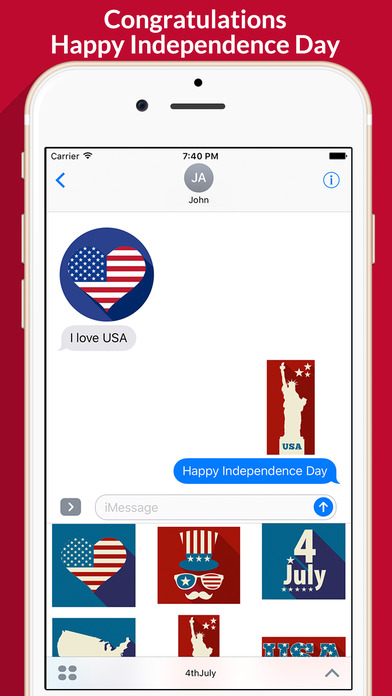 4th of July - Minimal Independence Day Stickers screenshot 2