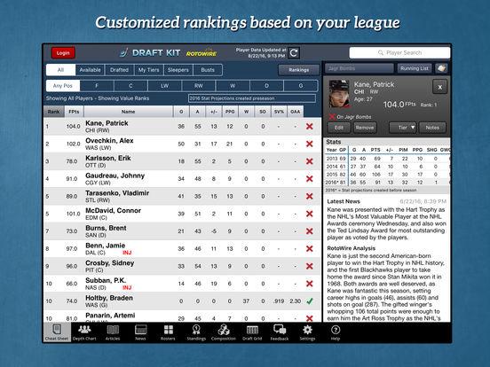RotoWire Fantasy Hockey Draft Kit 2017 screenshot 6
