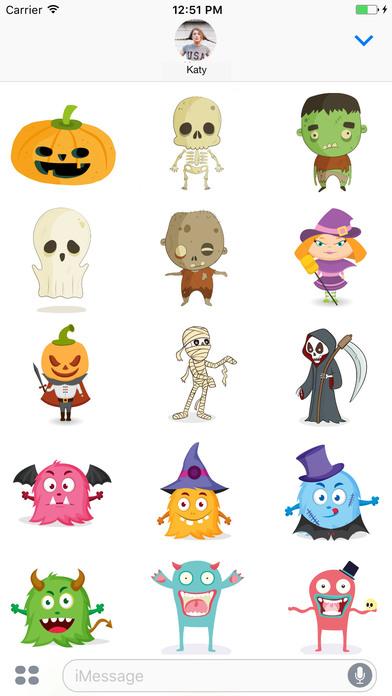 Cute Halloween Monsters Stickerpack screenshot 2