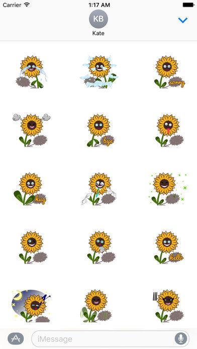 Cute Sunflower - Flowermoji Sticker screenshot 2
