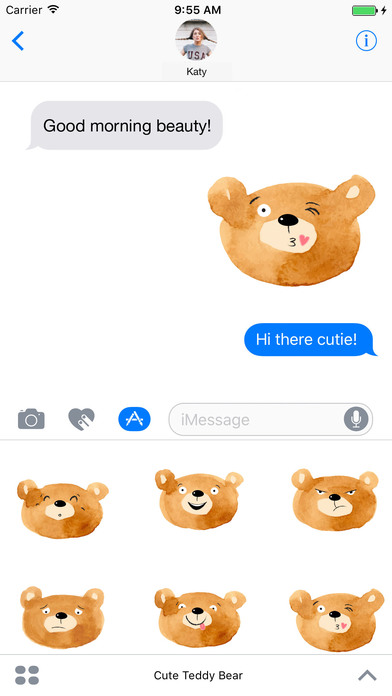 Cute Teddy Bear - Watercolor Emojis screenshot 1