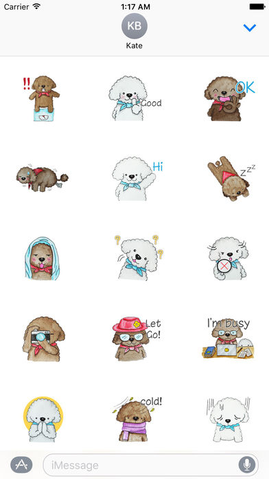 Love and Poodle Dogs Watercolor Sticker screenshot 2