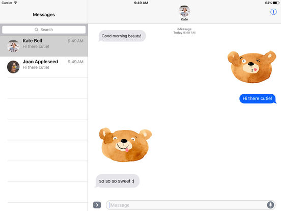 Cute Teddy Bear - Watercolor Emojis screenshot 3