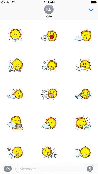 The Sun and Cloud Emoji Sticker screenshot 1