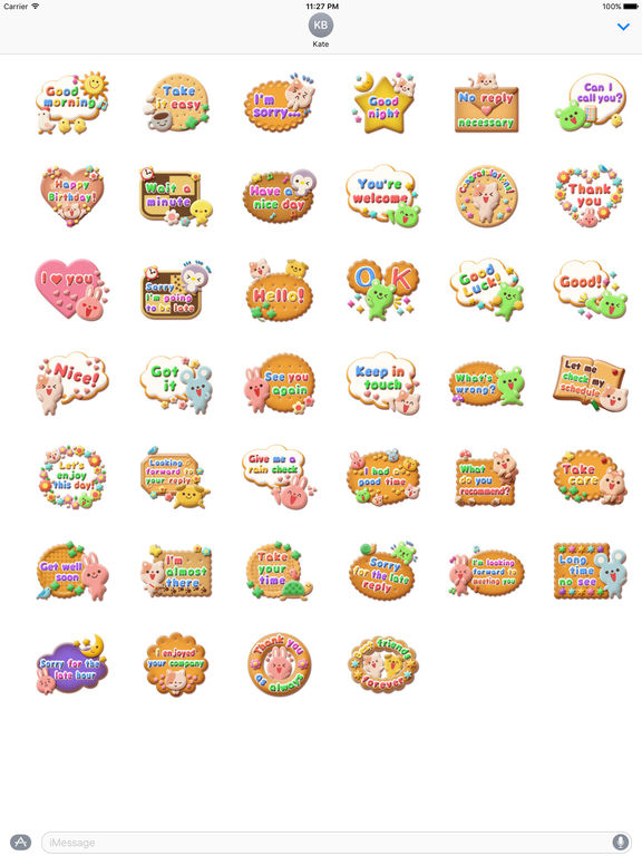 So Sweet Animal Cookies Stickers screenshot 4