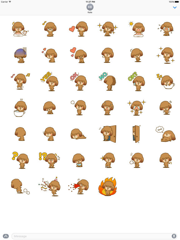 Lovely Toy Poodle Dog Stickers Pack screenshot 4